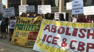 Protesta para abolir ICE en Hartford, Connecticut US